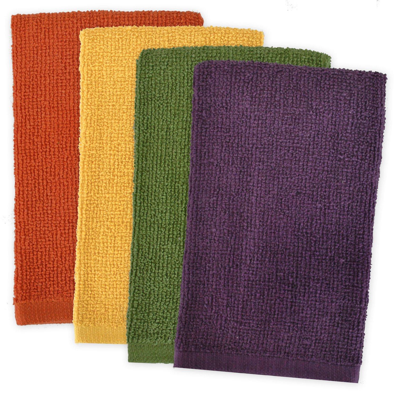 DII 100% Cotton, Machine Washable, Ultra Absorbent, Everyday Kitchen Basic, Utility, Bar Mop Dishtowel 16 x 19 Set of 4- Warm