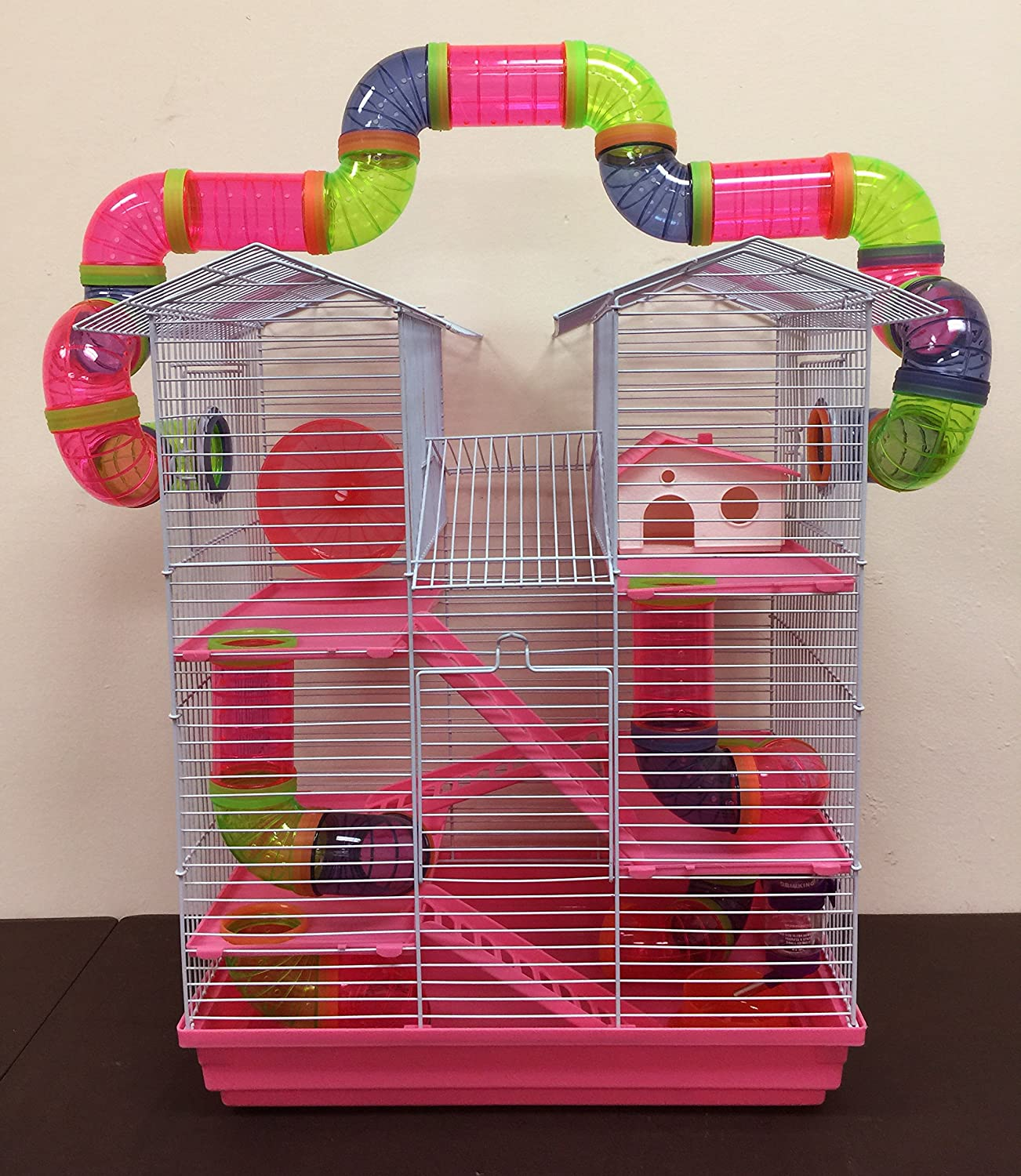 5 Floor Large Twin Towner Syrian Hamster Rodent Gerbil Mouse Mice Rat Cage with Crossing Tube Tunnel With Crossing Tube) Mcage