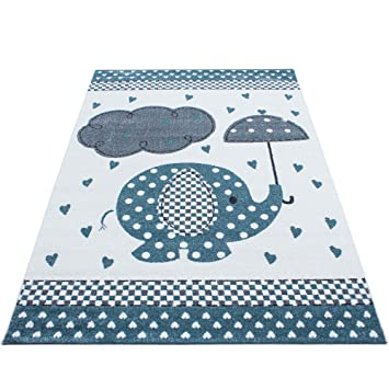 Kinderteppich Kinderzimmer Teppich Lustige Tiere Muster Grau Blau Weiß