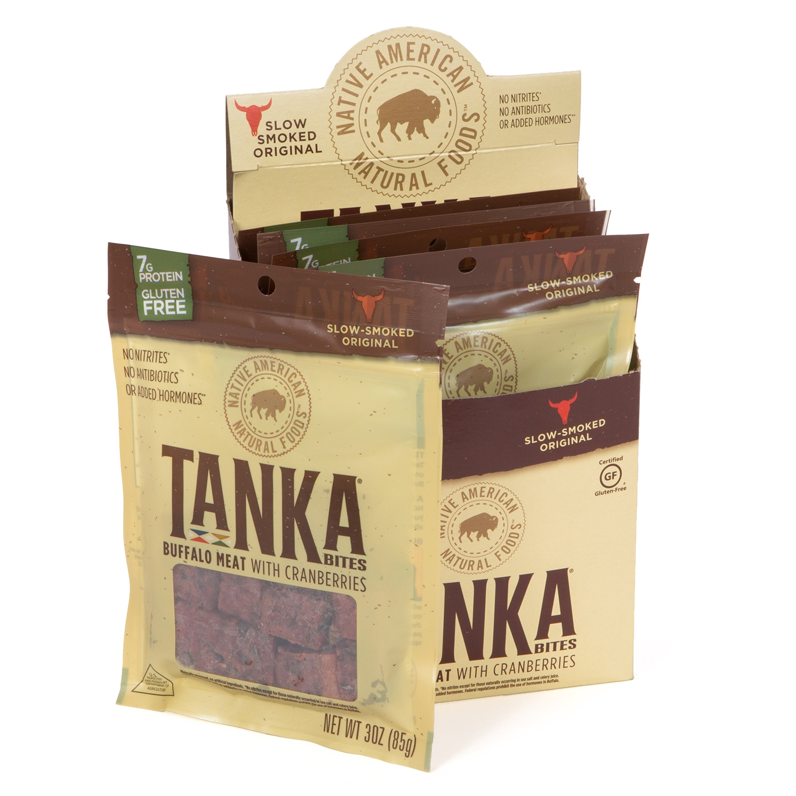 Tanka Buffalo Meat with Cranberries Protein Bites, Beef Jerky Alternative, Gluten Free Snacks, Paleo, 3 Ounce Bag, (Pack of 6)