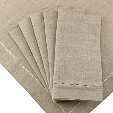 CleverDelights 12 Pack Natural Linen Hemstitched Dinner Napkins - 20  x 20  - 100% Pure Linen - Ladder Hemstitch Cloth Dinner Napkins