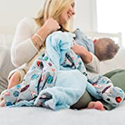 Minky Super Soft Baby Blankets, Receiving Blankets with Space Blue Printed Design by Graced Soft Luxuries