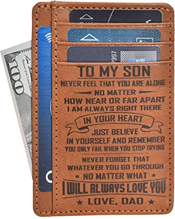 Engraved Father Son Gift Wallet Personalized Anniversary Birthday