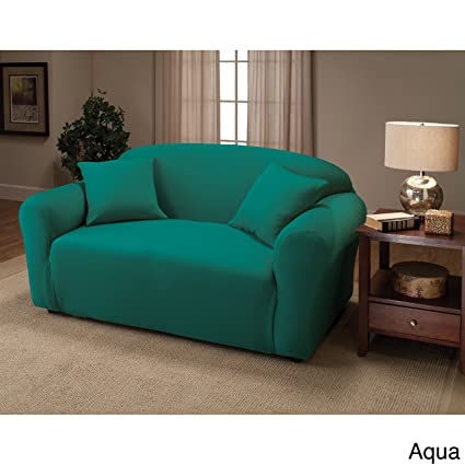 Madison Stretch Jersey Aqua Loveseat Slipcover, Solid