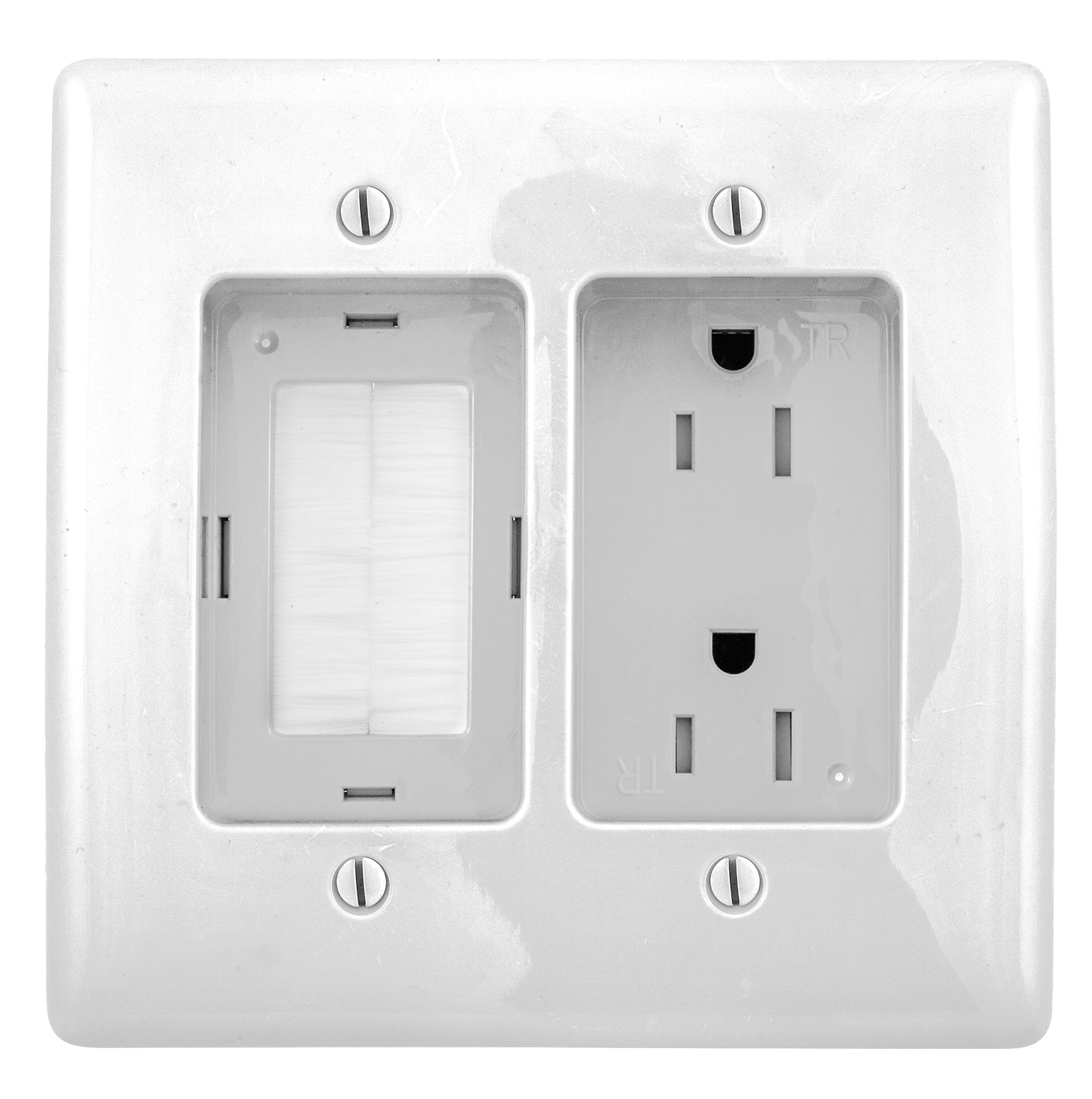Bryant Electric RR1512W 2-Gang Recessed TV Connection Outlet Plate with 15 Amp 125V Tamper-Resistant Duplex Receptacle with One Pass-Thru Opening, White by Bryant Electric