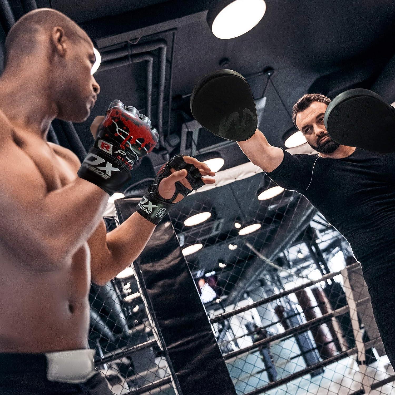 Sacco Boxe Approvato da SMMAF Sparring RDX MMA Guanti per Grappling Arti Marziali Allenamento Pelle di Vacchetta Kickboxing Guantoni Grande per Muay Thai Combattimento in Gabbia Gloves