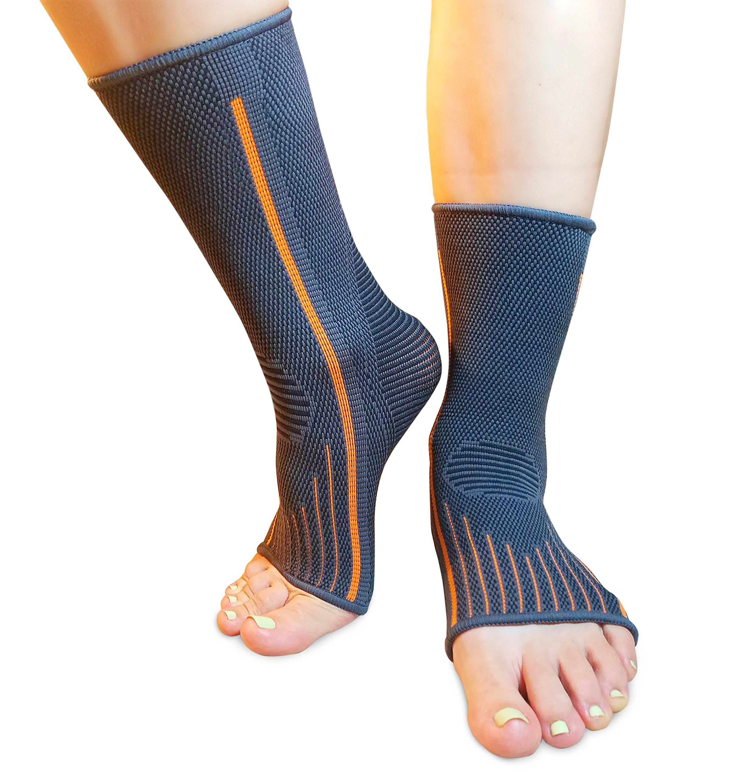 Ankle Brace Compression Sleeve   Arch Support   Foot Sock for Injury Recovery, Joint Pain, Swelling, Achilles Tendon   Pain Relief from Heel Spurs, Plantar Fasciitis   Breathable   Women & Men - M by BigEL (Image #3)
