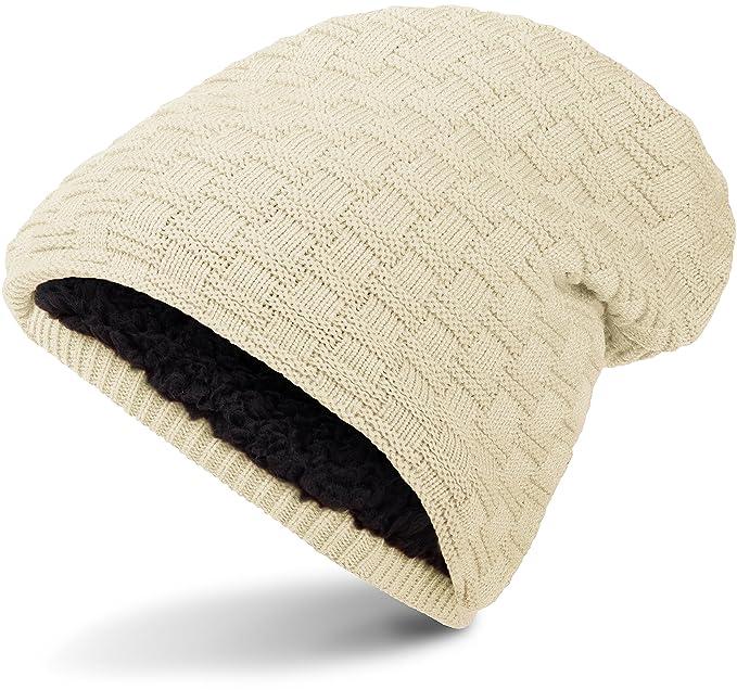 Warme Feinstrick Beanie Winter Mütze mit Flecht Muster Grobstrick ...