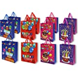 Birthday Gift Bags -12 Pack Medium Birthday Party 3D Present Bags with Tags