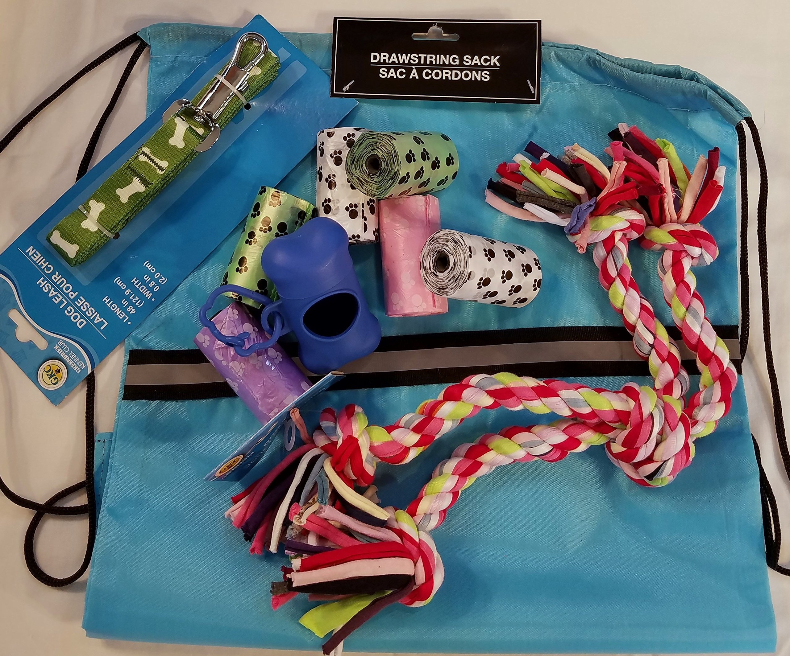 TeamNuYou Dog Park and Play Bundle, Drawstring Bag, Leash, Waste Bags with Dispenser and a Toy
