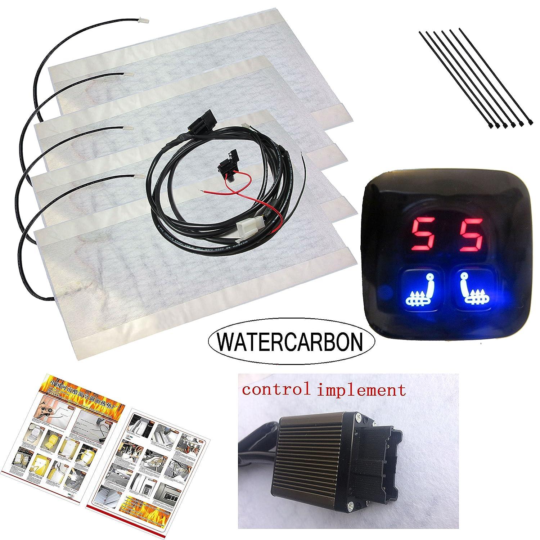 2 Seats WATERCARBON Tech Era Carbon Fiber Seat Heater Kit Hi//Lo Setting 6 Files LED Knob Switch Seat Heater Pad 2 Seats jia
