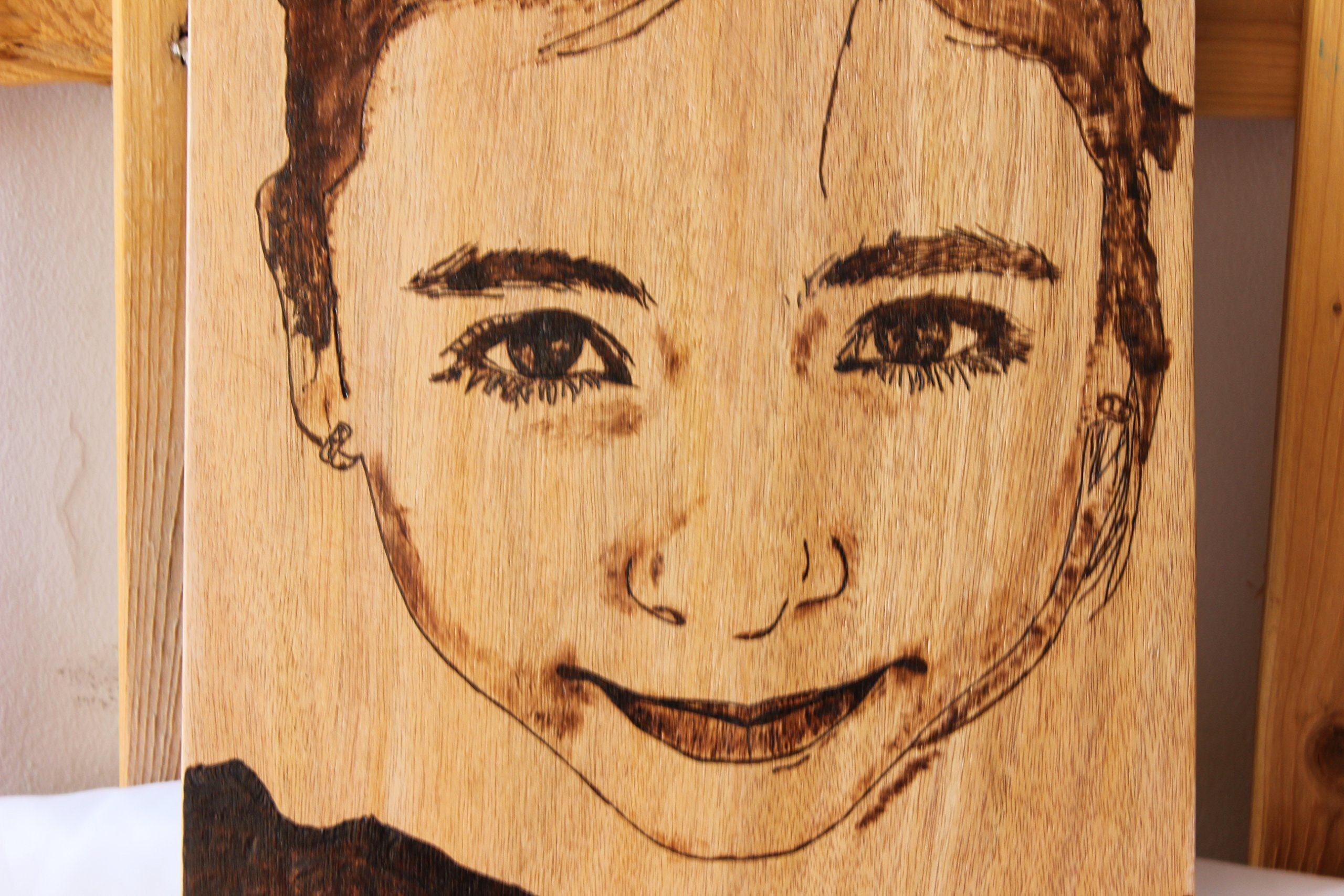 Custom Portrait on wood - Pyrography Wood burning personalized baby girl boy man woman portrait - birthday present for grandparents