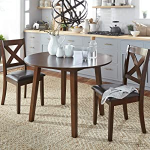 Liberty Furniture Industries Thornton 3 Piece Drop Leaf Table Set, W42 x D42 x H30, Medium Brown