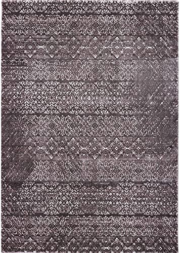 Pierre Cardin Luxury Home Sateen Collection Oriental Traditional Area Rugs Vintage Abstract Area Rugs for Living Room Carpets 8 x 10 , Brown A551A