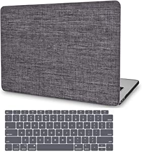 MacBook Air 13 Inch Case 2019 2018 Release A1932, G JGOO MacBook Air 2019 Case, Soft Touch Fabric Hard Shell Case Cover with Keyboard Cover for Apple Mac Air 13.3 with Retina Display & Touch ID, Grey