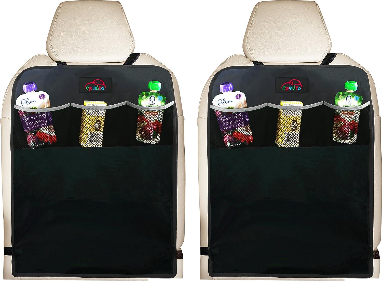 EPAuto 2 Pack Car Backseat Kick Mats for Seat Back Protectors w/Storage Pocket AO-008-1