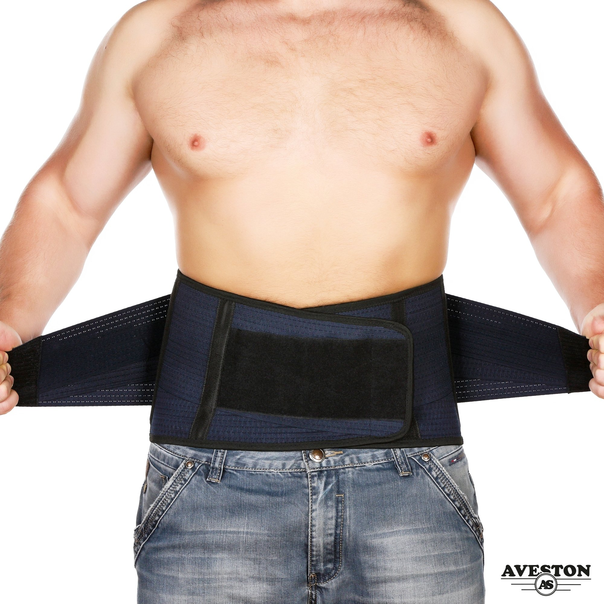 Breathable Back Support and Lumbar Lower Back Brace provides Back Pain Relief - Keep Your Spine Safe and Straight thanks to 6 Plastic ribs and 3 Adjustable Belt - Large size