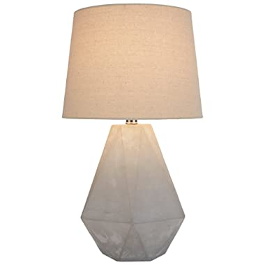 Rivet Diamond Cut Concrete Table Lamp, 20 H, With Bulb, Nickel Finish
