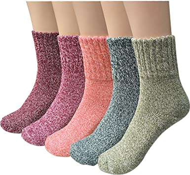 5 Pack Womens Thick Knit Warm Casual Wool Crew Winter Socks
