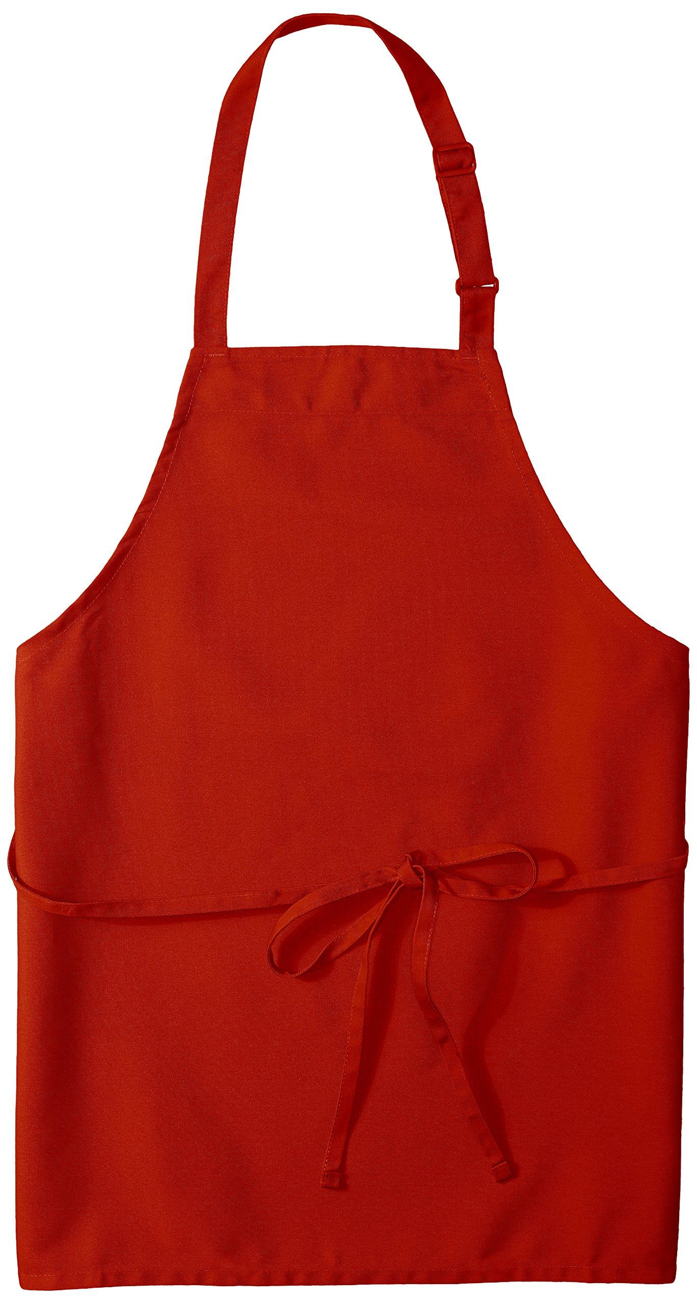 Uncommon Threads Unisex Adjustable No Pocket Restaurant Bib Apron, Red, One Size