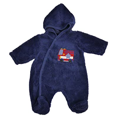 Baby Fleece All in one Lightweight All in One Snowsuit NB 0-3m 3-6m (Blue Fire Engine Motif, 0-3 Months)