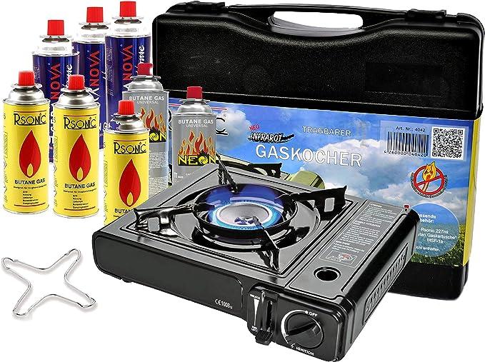 Portable Camping hervidor 2,3 kW Hornillo de gas con 8 x Cartuchos de Gas + Phönix PH de K01 Cocina de gas Cruz 12 x 12 cm + Maletín