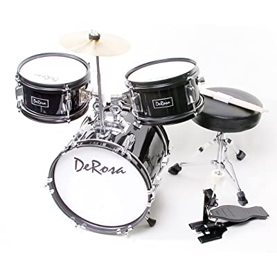 De Rosa DRM312-BK Children's 3-Piece 12-Inch Drum Set with Chair, Black: Musical Instruments