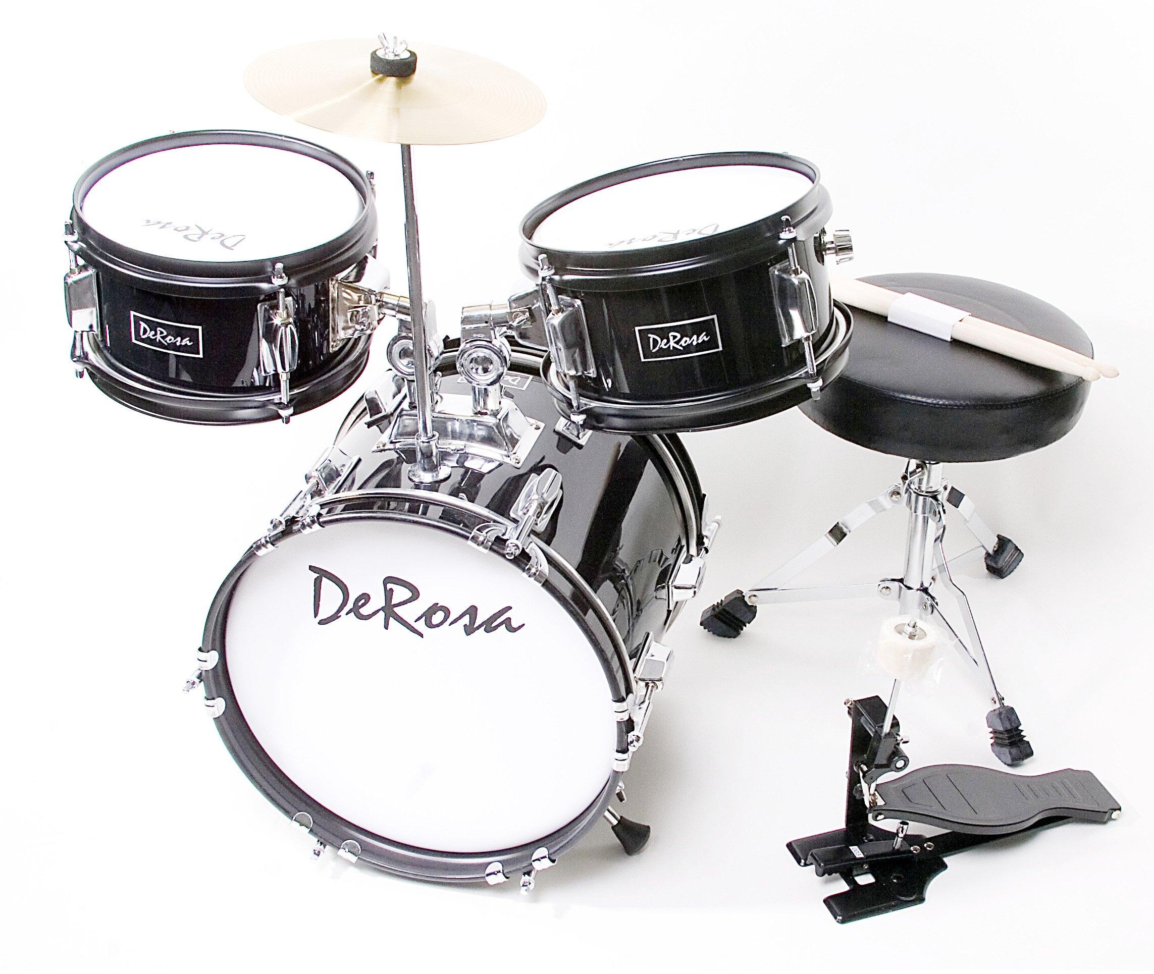 De Rosa DRM312-BK Children's 3-Piece 12-Inch Drum Set with Chair, Black