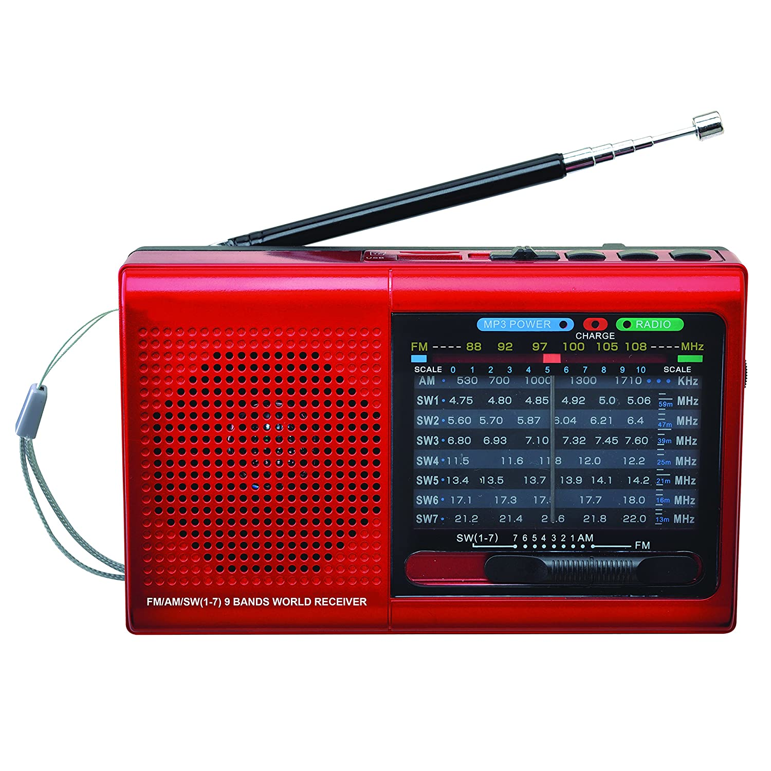 SuperSonic 9 Band Bluetooth Radio with AM/FM and SW1-7, Red (SC-1080BT-Red) SUPERSONIC(R) SC-1080BT RED
