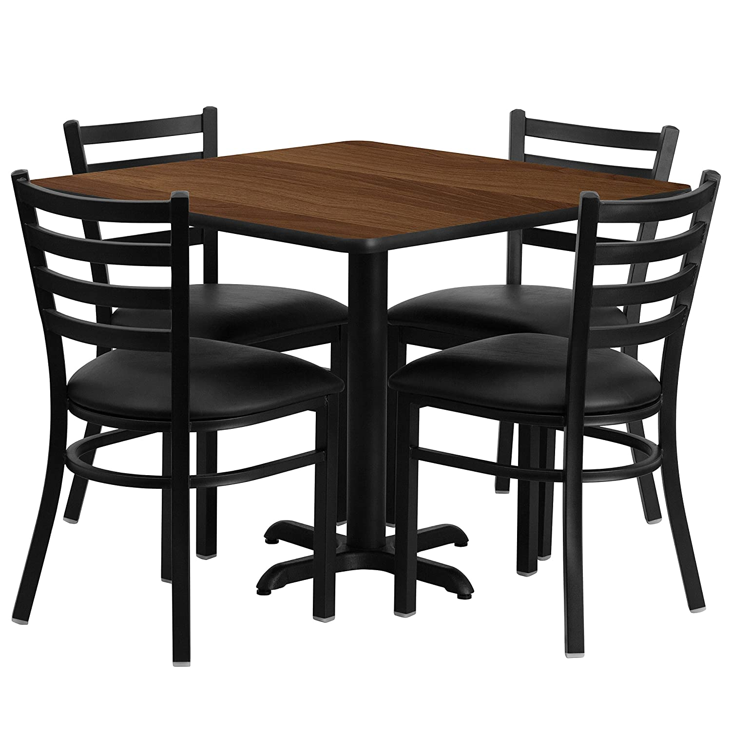 Square Table For 4 Part - 35: Amazon.com - Flash Furniture 36u0027u0027 Square Black Laminate Table Set With 4  Ladder Back Metal Chairs - Black Vinyl Seat - Table U0026 Chair Sets