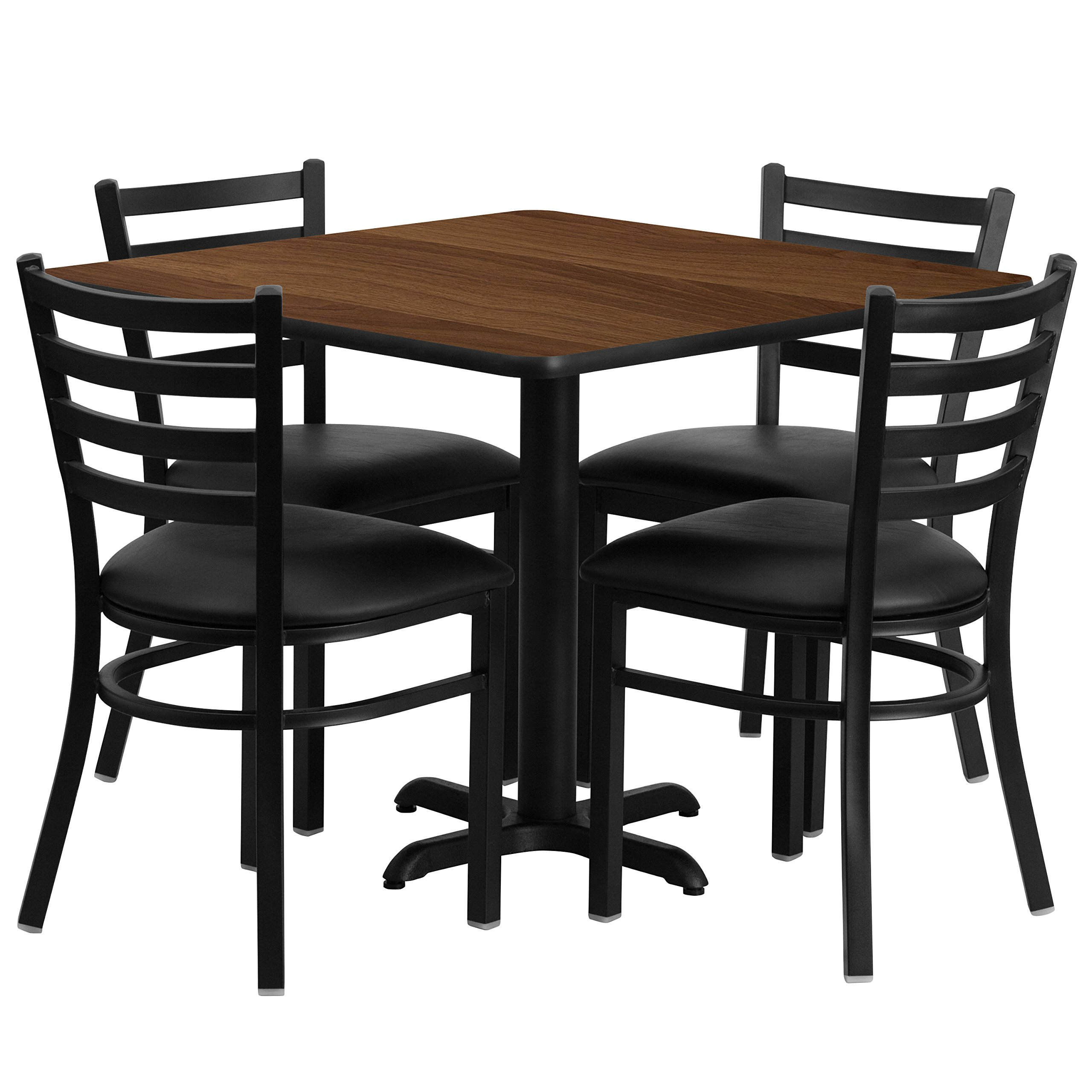 Flash Furniture 36'' Square Walnut Laminate Table Set with 4 Ladder Back Metal Chairs - Black Vinyl Seat by Flash Furniture (Image #1)