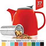 Tealyra - Drago Ceramic Teapot - 1100ml (5-6 cups) - Large Stylish High-Fired Ceramic Teapot with Stainless Steel Lid and Extra-Fine Infuser To Brew Loose Leaf Tea - Dishwasher-safe - BPA Fre - Red