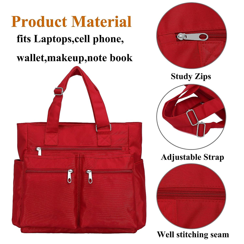 Waterproof Nylon Oxford Multi-pocket Tote Bags Fashion Travel Laptop Briefcase Work Purse for Women /& Men