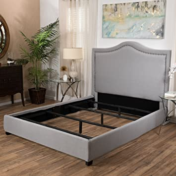 grey upholstered studded fabric queen size bed set gray dark frame