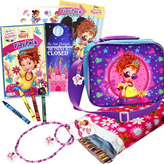 Bundle includes Fancy Nancy Play Pack and Fancy Nancy Necklace Fancy Nancy Soft Rectangular Insulated Lunch Bag Set