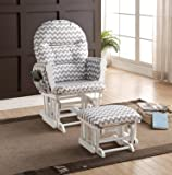 Naomi Home Brisbane Glider & Ottoman Set with Cushion in Gray Chevron and Finish in White
