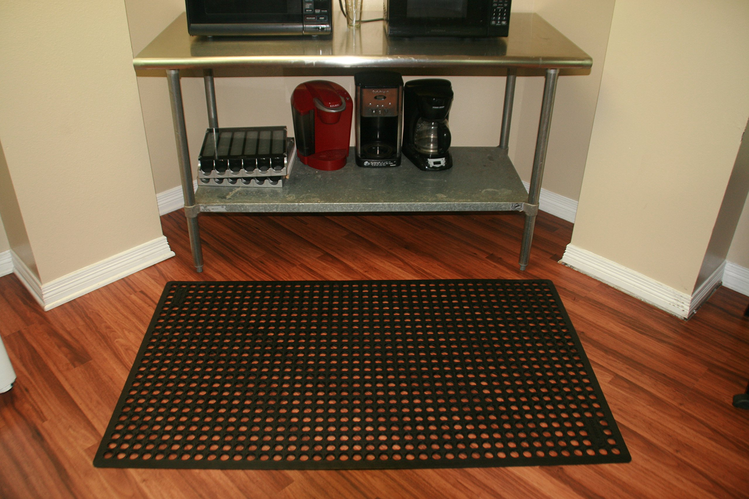 Rhino Mats KCT-3660B K-Series Comfort Tract Anti-fatigue Drain-thru Mat, 3' x 5', Black by Rhino Mats (Image #7)