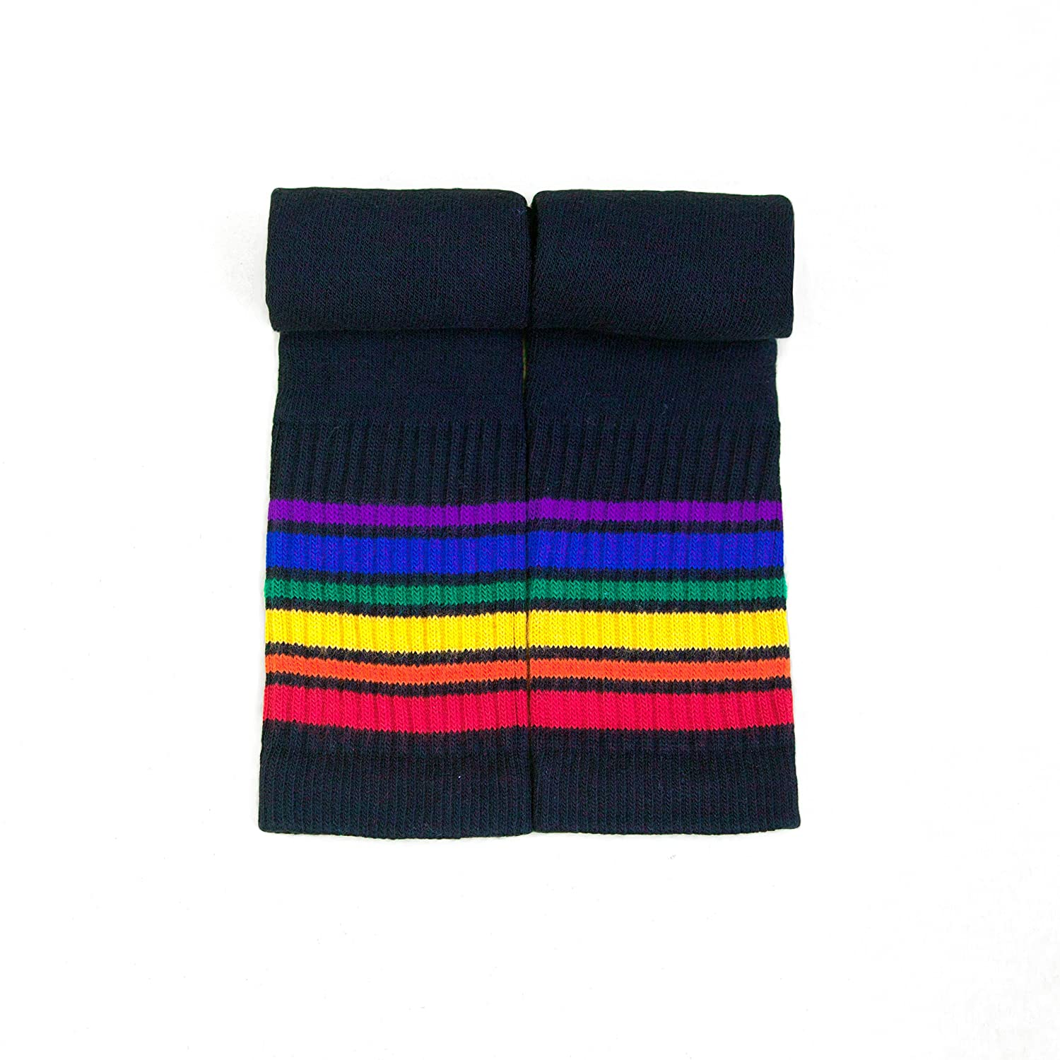 Pride Socks Kids Black Rainbow Tube Socks BT1-14