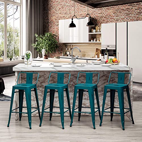 30 inch Seat Height Metal Bar Stools Set of 4 Industrial Counter Height Barstool