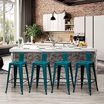 """Amazon.com: 26 Inch Seat Height Metal Bar Stools Set Of 4 Industrial Counter Height Barstools For Indoor-Outdoor (26"""" Low Back, Distressed Teal Blue): Kitchen & Dining"""