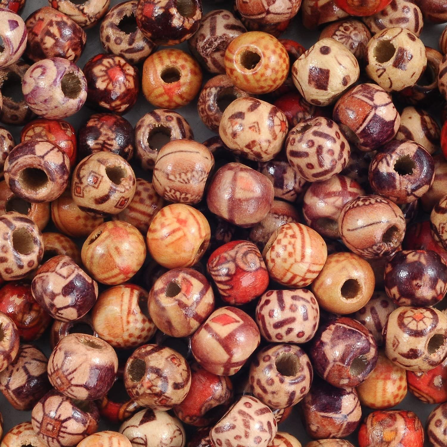YUEAON Wholesale 200pcs 10mm Natural Painted Wood Beads Round Loose Wooden Bead Bulk Lots Ball for Jewelry Making Craft Hair DIY Macrame Rosary Bracelet Necklace Mix Color