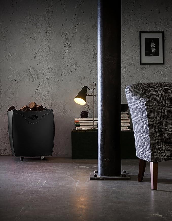 BOTTE: Bolso, cesta para leña o pellets, en cuero bicolores, equipado con 4 ruedas de goma.: Amazon.es: Hogar