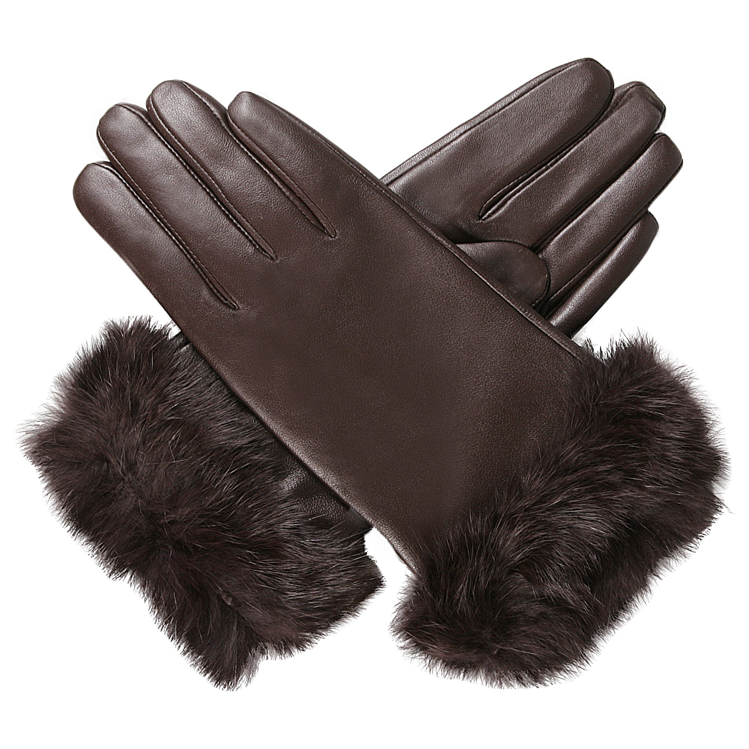 Luxury Lane Women's Rabbit Fur Cuff Cashmere Lined Lambskin Leather Gloves - Chocolate Medium by Luxury Lane (Image #4)