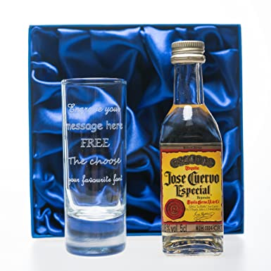 Personalised Tall Shot Glass /& 3 Patron Tequila Miniatures in Grey Presentation Gift Box