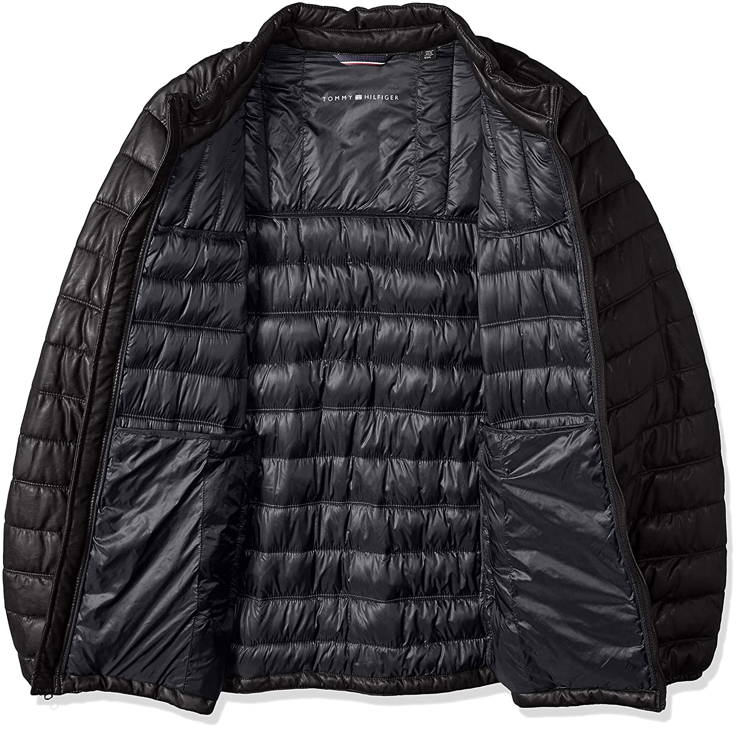 Tommy Hilfiger Mens Big and Tall Lightweight Quilted Faux Leather Puffer Jacket 2XT Black