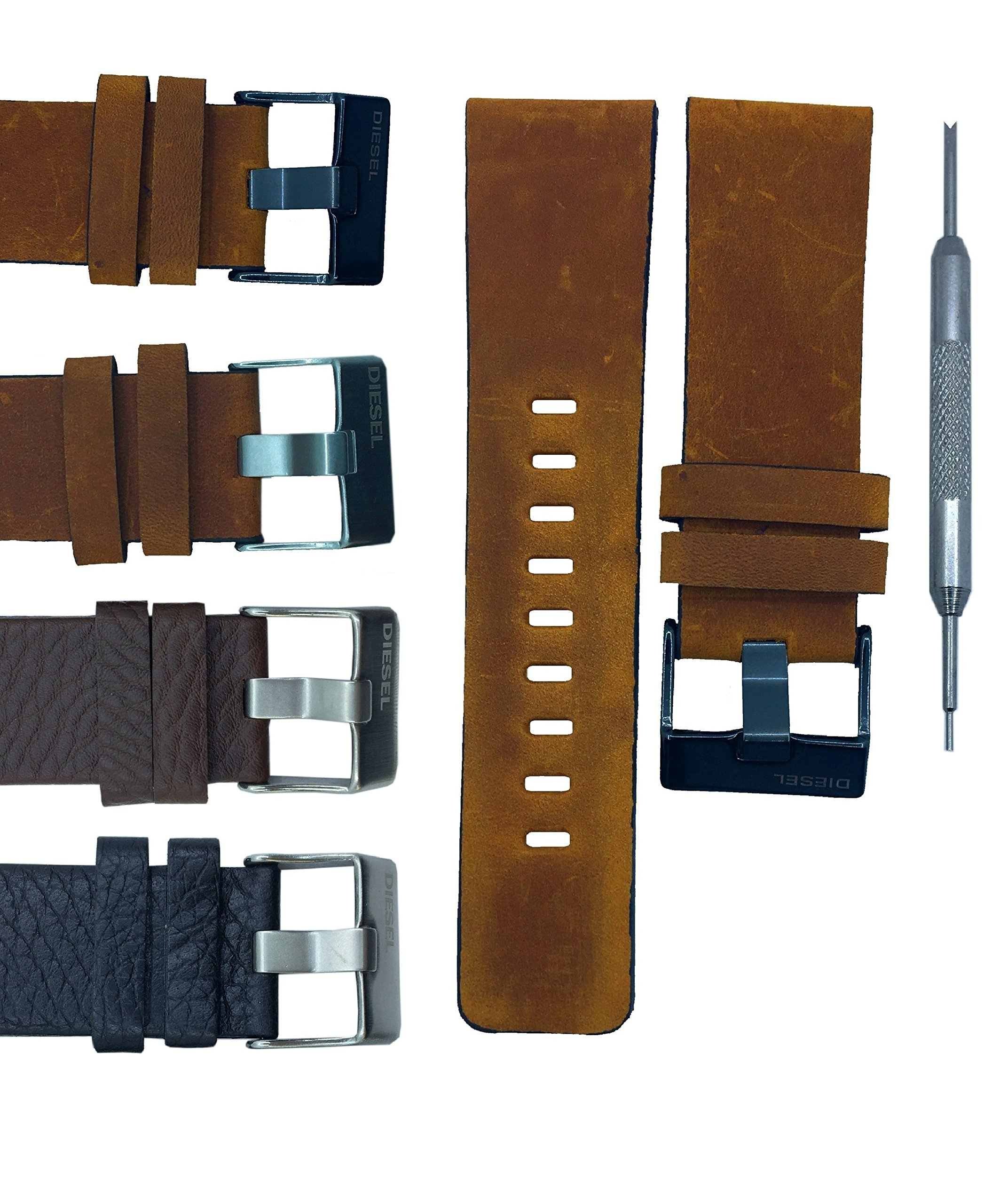 Genuine Leather Watch Band Strap for DZ1183 DZ1347 DZ1272 DZ4343 - Free Spring Bar Tool (26mm, Light Brown(Black Buckle))