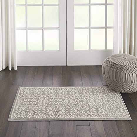 Amazon Com Nourison Jub06 Jubilant Transitional Floral Ivory Grey Area Rug 2 X 4 Furniture Decor