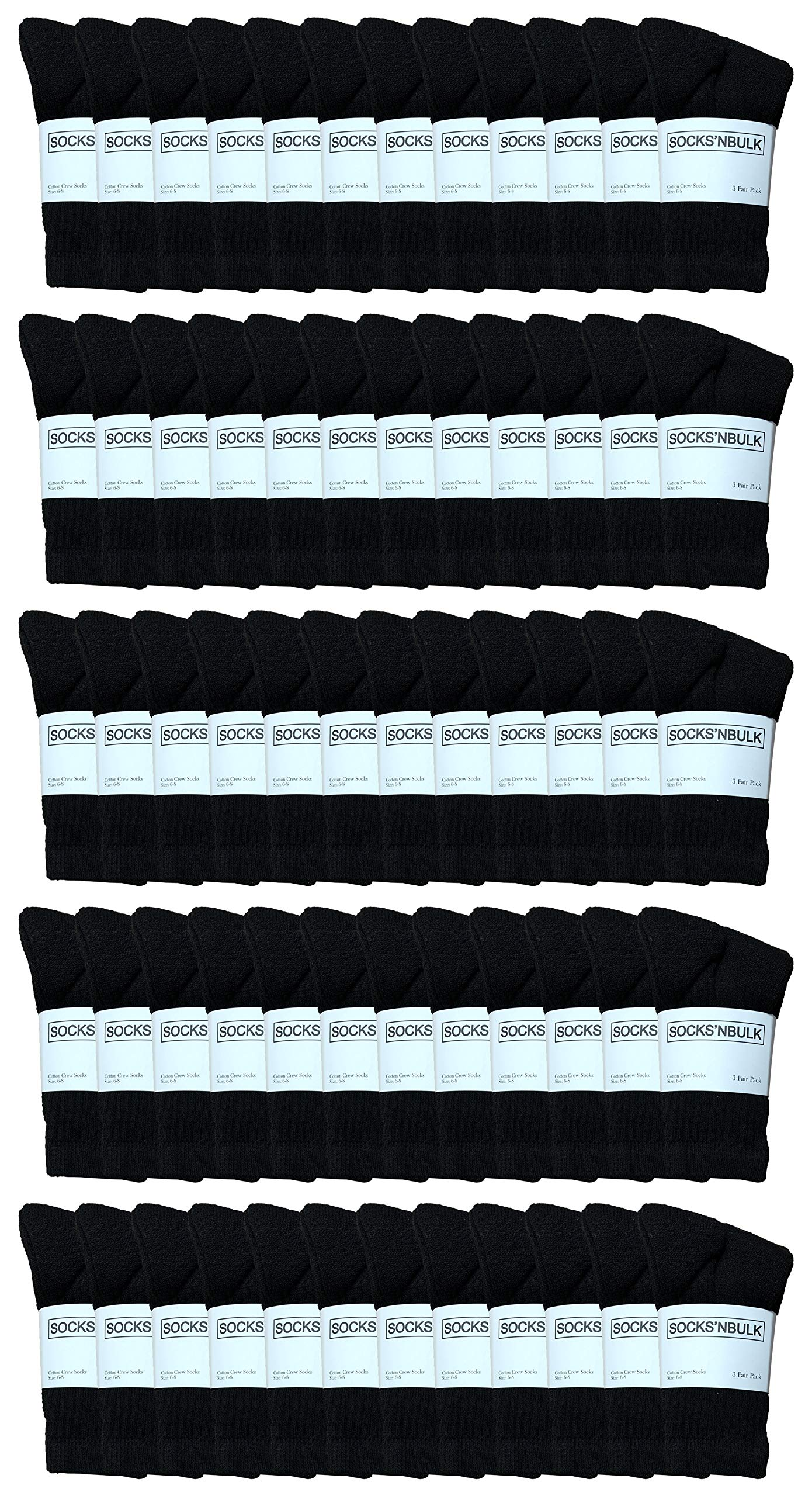 180 Pairs Case of Kids Sports Crew Socks, Wholesale Bulk Pack Sock for boys and girls, by WSD (Black, 6-8)