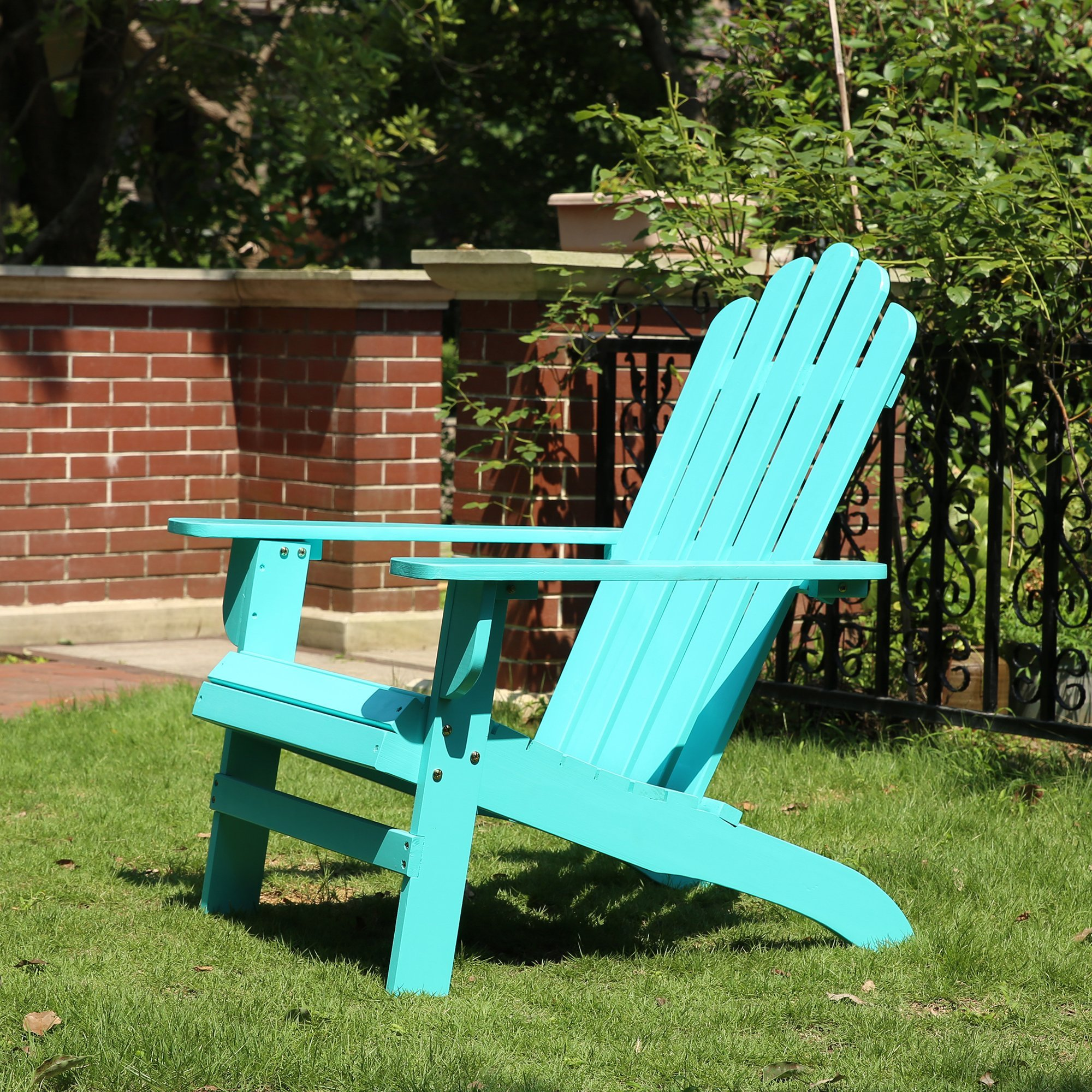 Azbro Outdoor Wooden Fashion Adirondack chair/Muskoka Chairs Patio Deck Garden Furniture,Turquoise by Azbro (Image #4)
