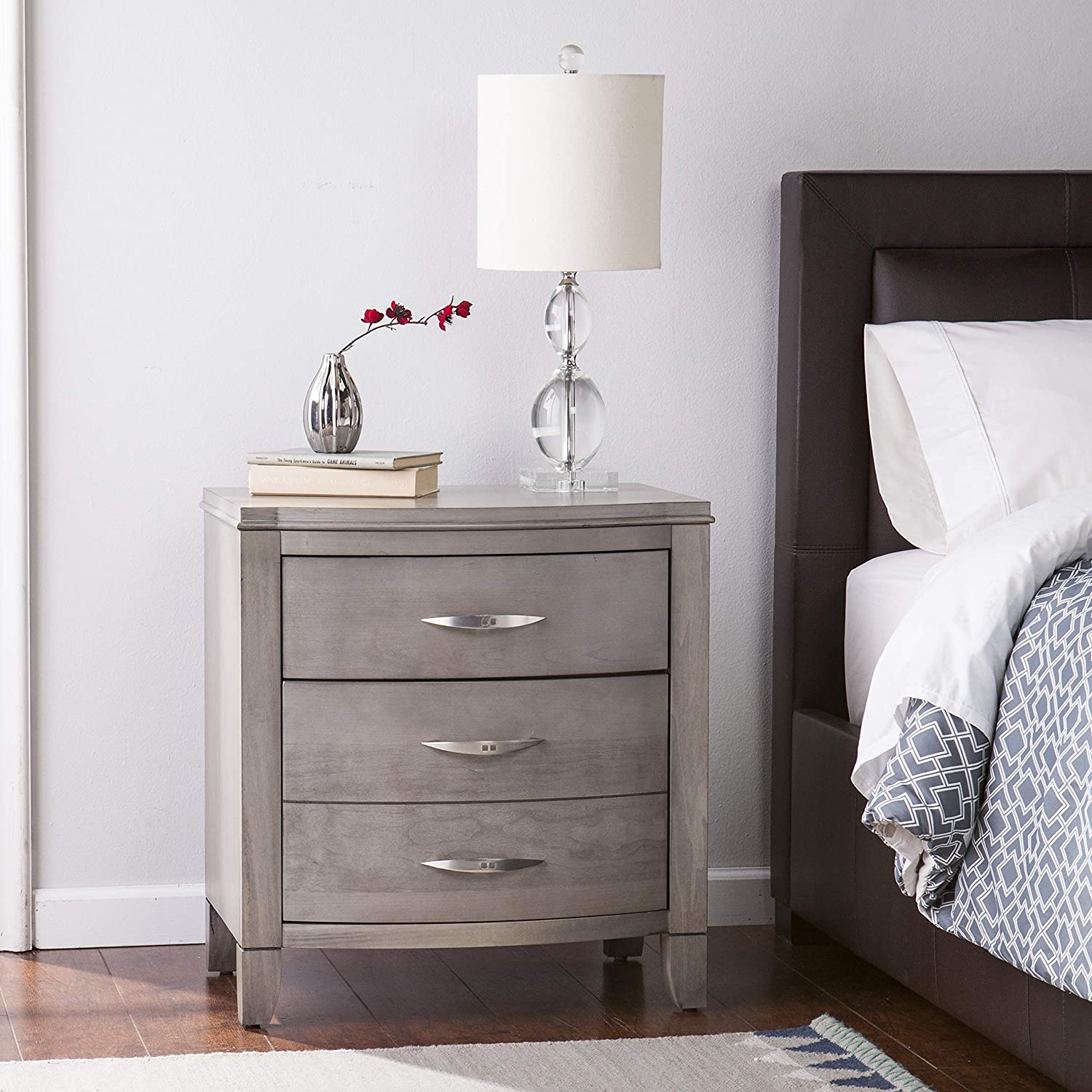 2 drawer nightstand transitional styledriftwood gray finish bedroom furniture soft close drawer hinges brushed silver hardware finish bundle with our